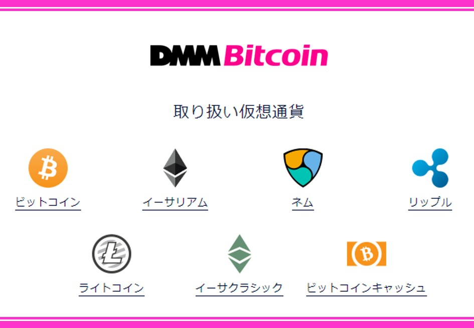 DMM Bitcoinが取り扱っている仮想通貨銘柄